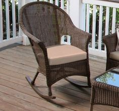 North Cape-Darby collection rocking chair.  We love this small outdoor wicker rocker.  Great for a front porch space.