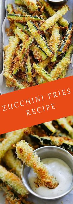 Crispy baked zucchini fries made with Japanese panko bread crumbs and Parmesan c. Crispy baked zucchini fries made with Japanese panko bread crumbs and Parmesan cheese. Serve the zu Zucchini Pommes, Parmesan Zucchini Fries, Zucchini Noodles, Apple Crisp Recipes, Banana Bread Recipes, B Recipe, Panko Bread Crumbs, Alfredo Recipe, Yummy Snacks
