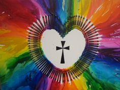 This is a crayon melting project that was fun and decorative! We positioned the crayons into a heart, and used the blow dryer to melt the crayon- while turning the canvas so it would melt out towards the edge of the canvas.  We then painted a cross in the middle to symbolize that Jesus is in our heart. :)