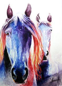 Watercolor horse art wild horses animal art barn decor horse print painting of horses by SignedSweet on Etsy