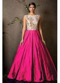 New White & Pink Colour Floor Touch Semi Stitched Designer Gown