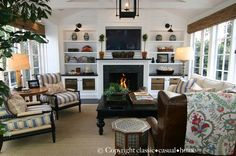 Blue & white living room - fireplace with built-in bookcases - Beach Home Tour - classic • casual • home