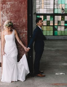 Sweet 'first touch' for the bride + groom