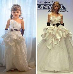 Bé gái 4 tuổi thiết kế váy thảm đỏ bằng giấy