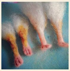 Needle felted mouse feet... http://www.etsy.com/shop/barby303