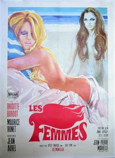 Les Femmes (Magna, 1969) Italian 2 Folio film poster, Comedy starring Brigitte Bardot, Maurice Ronet, Anny Duperey, Jean-Pierre Marielle & Tanya Lopert, directed by Jean Aurel, linen backed h:55 w:39 in. Estimate £ 80-120