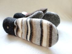 Felted Wool Mittens BROWN & GREY Striped Sweater by WormeWoole, $36.00