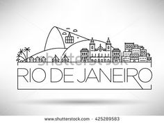 Linear Rio de Janeiro City, Brazil Silhouette with Typographic Design