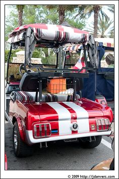 "striped fabric a bit much, but love the ""vintage Mustang"" golf cart"
