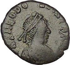 THEODOSIUS II 425AD Authentic Ancient Roman Coin Wreath cross within i53181