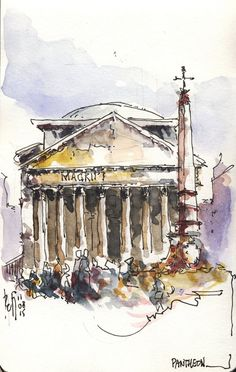 Popular tourist destinations In Rome. Ok so you want to visit one of the most breathtaking cities in the world, aka Rome, the question is, what tourist attractions can you see in Rome and what is their history Watercolor City, Watercolor Sketch, Watercolor Landscape, Watercolor Paintings, Watercolor Architecture, Architecture Sketchbook, Rome Painting, Interior Design Sketches, Urban Sketchers