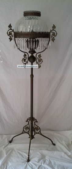 Antique ~ Victorian Style ~ Kerosene/oil Floor Lamp ~ Brass ~ John Scott ~ Made In England