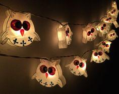 Fairy lights 20 Handmade White Owl paper lantern string lights kid bedroom light display garland decorations