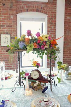 Alice in Wonderland Themed Wedding - Colorful Floral Centerpieces RSVP: The RiverRoom Blog