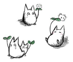 Someone on Gaia wanted the little totoro guy as a tattoo and was asking for designs. Little Totoro Doodles Studio Ghibli Films, Studio Ghibli Tattoo, Bild Tattoos, Cat Tattoos, Fanarts Anime, My Neighbor Totoro, Hayao Miyazaki, Illustrations, Tatoo
