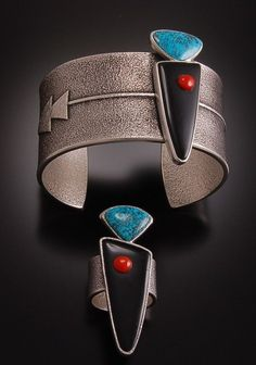 MAGNIFICENT Navajo Hero Twins Cuff and Ring Set by Darryl Begay