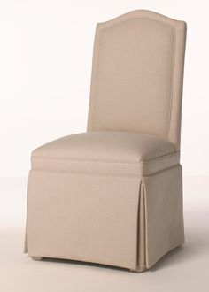 Custom Skirted Wingback Chair With Nailheads Dining