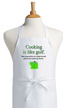 Cooking Is Like Golf Funny Apron For Golfers  by CoolAprons, $9.95