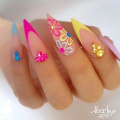 We collected 30 stiletto nail art designs for you when you attend a party. The nails included unique,classy,pink,purple, French Nail Designs, Acrylic Nail Designs, Nail Art Designs, Nails Design, Bright Summer Acrylic Nails, Best Acrylic Nails, Acrylic Summer Nails Almond, Bright Nails Neon, Colorful Nail