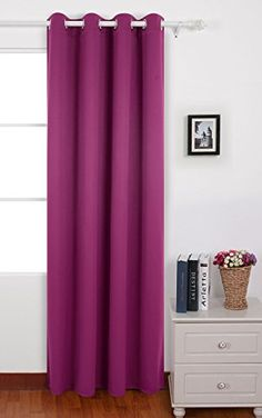Deconovo Thermal Insulated Blackout Grommet Window Curtain Panel Fushcia For Living Room52inch By 84Inch >>> Details can be found by clicking on the image.