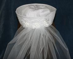 Sailor's HAT with VEIL perfect for Nautical Bridal Shower, Rehearsal Dinner or Destination Wedding