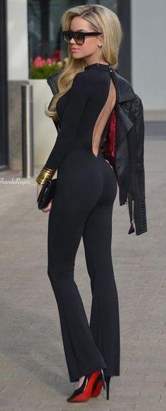 Black Biker Jacket, Open Back Black Jumpsuit, Black Louboutin Pumps   Shanda Rogers