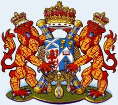 Arms of David Sellar as Lord Lyon, painted by Mark Dennis.