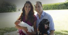The Duke and Duchess of Cambridge with Prince George and pet dog Lupo