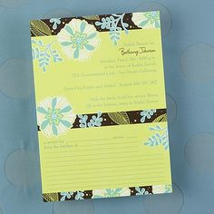 Flowered - Shower Invitation with Recipe Card - Bright White