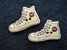 2 Shoe Buttons, 27mm Wooden High Tops Converse-style Novelty Craft Buttons for Teens