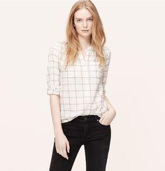 Plaid Henley Softened Shirt | Loft