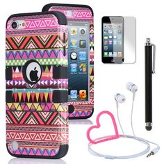 Pandamimi ULAK(TM) Hybrid Pink Hard Aztec Tribal Pattern + Black Silicon Case Cover For Apple iPod Touch (Generation 5) + Stylwire(TM) Pink Heart Stereo Headphone + Stylus + Screen Protector by ULAK, http://www.amazon.com/dp/B00BYVU522/ref=cm_sw_r_pi_dp_QKqurb1QDSC4M