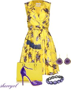 """Yellow Print And Kate Spade Bag"" by sherryvl on Polyvore"