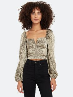 Ellejay Alexa Crop Blouson Sleeve Blouse | Verishop Crop Blouse, Fitted Bodice, Off Shoulder Blouse, Night Out, Curves, Cute Outfits, Feminine, Snake, Sexy