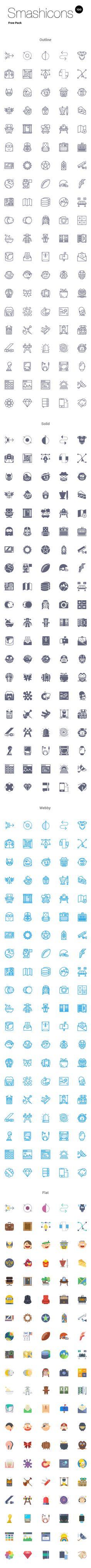 Smashicons: 100 Free Icons | GraphicBurger