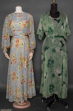 TWO PRINTED CHIFFON GOWNS, 1930s Both bias cut floral prints w/ belts: 1 powder blue, net band inserts on sleeves & neckline; 1 light green, white & green print, fluted elbow L sleeve w/ open band, F side panel