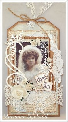 Beautiful heritage photo tag with a vintage winter look.