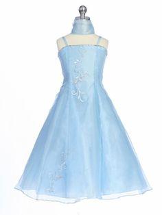 Blue Flower Girl Dress - Organza A-Line Dress w/ Shawl