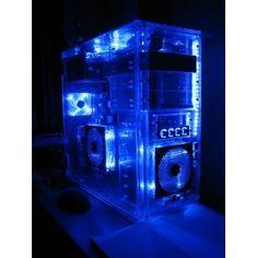 ATX Transparent Blue Computer Case