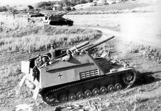 A battery of Hummel self-propelled guns opened fire with his cannon of 150 mm.