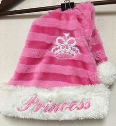 "Pink Plush Striped Princess Hat Girl 20"" - 22 "" Ski Winter Adjustable Pom-Pom"