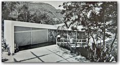 Portinho House - view of the garage and maid's room with connecting ramp to main building, Rio de Janeiro, Brasil by Affonso Reidy (1950)