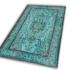 Vintage aqua recoloured carpet by Rozenkelim.nl