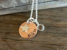 Handstamped Shine Copper Disc with Sterling by theknottedchain, $26.00