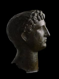 Bronze head of Hadrian, from a larger statue (one and a quarter times life-size), the Roman Emperor.