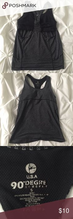 Grey Black Strappy Workout Tank with Built in Bra Grey/Black Strappy Workout Tank with Built in Bra- open on back- Sized Small Tops Tank Tops