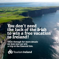 Want a free vacation to Ireland? Click through for more details on how to win a trip to the Emerald Isle!