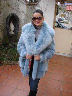 Blue Mink & Fox Fur Jacket