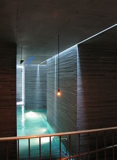 The Therme Vals. firm: Peter Zumthor, with Marc Loeliger, Thomas Durisch and Rainer Weitschies; Peter Zumthor, Water Architecture, Architecture Details, Therme Vals, Thermal Comfort, Sauna Room, Spa Design, Pool Designs, Location