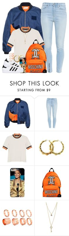 """Moschino Orange"" by dope-madness ❤ liked on Polyvore featuring Faustine Steinmetz, Paige Denim, Monki, Fergie, Moschino, ASOS, GUESS and adidas Originals"
